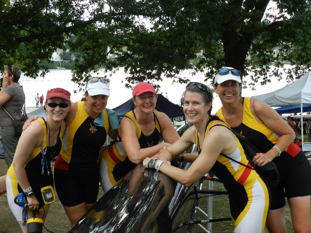 Zibi, second from right, with some of her rowing crew. The sport, and her experiences with it, has provided inspiration for her team-oriented work ethic.