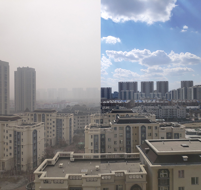 Image of air pollution in Tieling, China, in March 2019