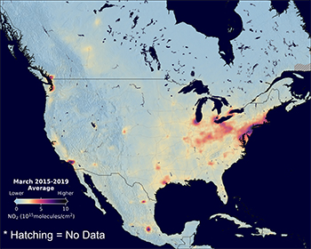 Image of nitrogen dioxide concentrations across the United States March 2015-2019