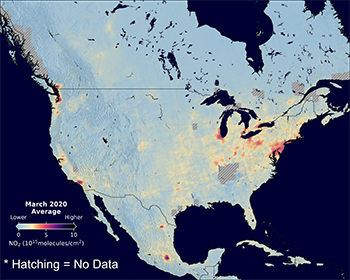Image of nitrogen dioxide concentrations across the United States March 2020