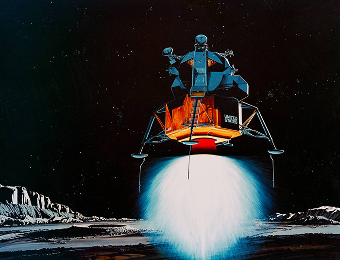 Image of artist's concept from 1969 depicts a lunar module descending to the Moon's surface