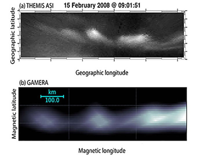 Image of comparison of a black-and-white image of auroral beads