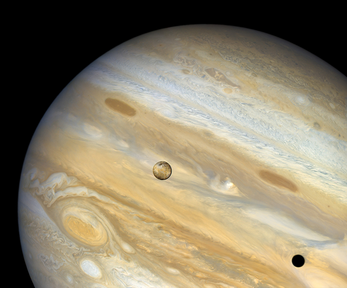 Image of Io passing in front of Jupiter