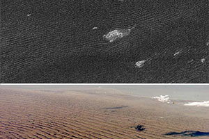 Image of sand dunes on Saturn's giant moon Titan