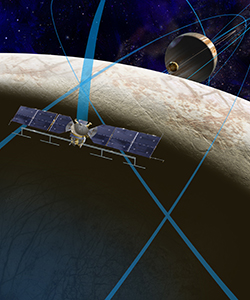 artist's concept of NASA mission to explore Europa