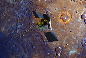 A depiction of the MESSENGER spacecraft flying over Mercury's surface, displayed in enhanced color