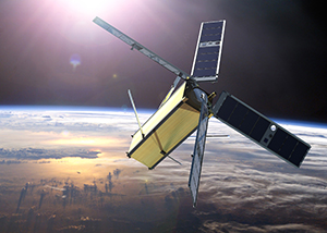 Artist's impression of an ORS Tech CubeSat in orbit.