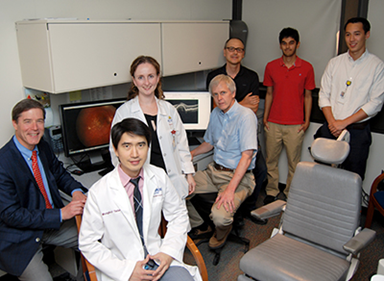 The research team (from the JHU Medicine Wilmer Eye Institute) Drs. Neil Bressler, Mongkol Tadarati and Yulia Wolfson; (from APL) David Freund, Philippe Burlina, Neal Joshi and Albert Feeny