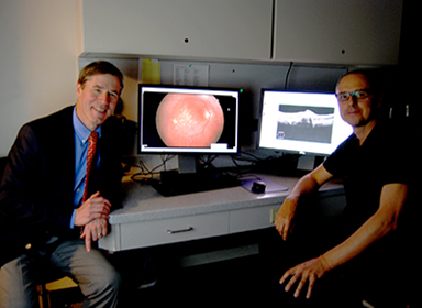 >Dr. Neil Bressler, Wilmer Eye Institute, and Philippe Burlina, APL, lead a joint APL–Wilmer research team that will develop ways to detect the early onset of age-related macular degeneration — a leading cause of blindness in the United States