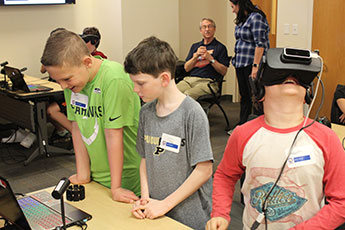 children participating in the CONVEY virtual reality program