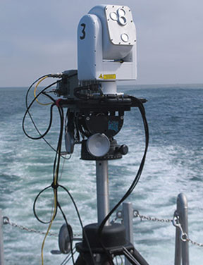 APL's compact free-space optics system during ship-to-ship testing