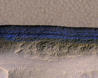 cross-section of a thick sheet of underground ice on Mars