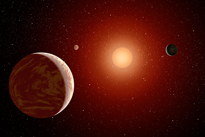 Depiction of a red, M-dwarf star